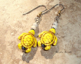 Yellow Turtle Tribe Earrings Beaded Stone and Wood