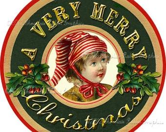 Vintage Christmas Gift Tag Digital Download Printable Image Little Elf Collage Scrapbook Sheet