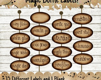 Magic Bottle Labels Witch Apothecary Instant Digital Download Vintage Style Collage Sheet Printable Scrapbook Image Clip Art
