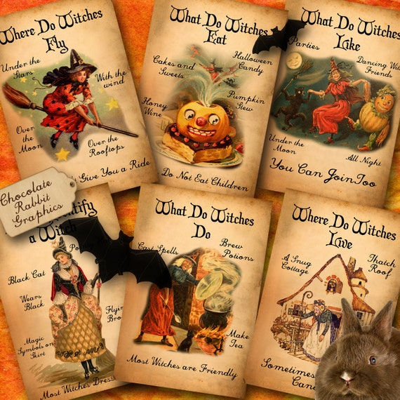 Halloween Witch Clip Art Digital Download Vintage Printable WItch Handbook Scrapbooking Collage Sheet