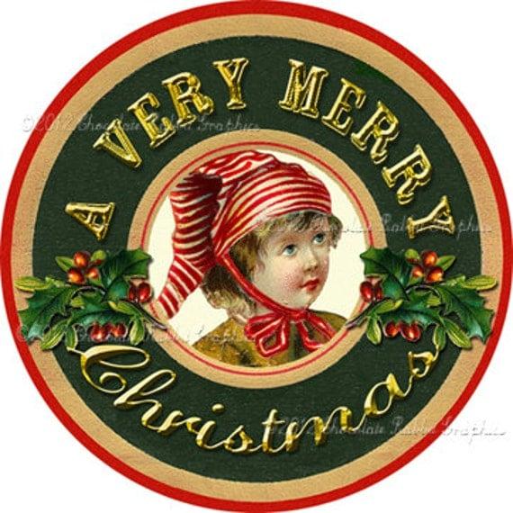 Vintage Christmas Gift Tag Digital Download Printable Image Little Elf ...