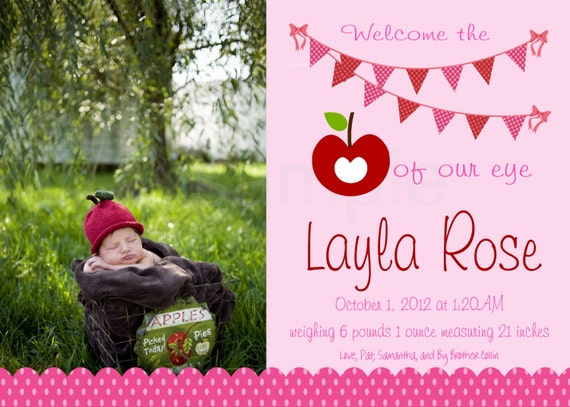 Apple of our Eye Birth Announcement - print your own