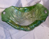 Antique Art Glass Bowl Design of Cabbage Leaves Poland or Chezcoslovakia Made at A Vintage Revolution