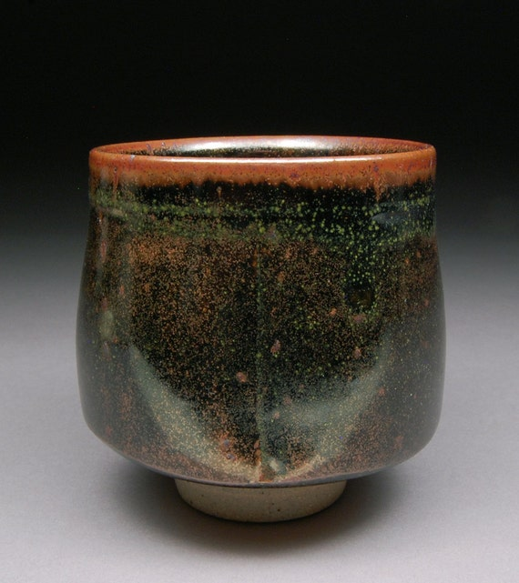 Larger Yunomi Tea Cup glazed with Teadust Tenmoku Mesmerizing glaze finish