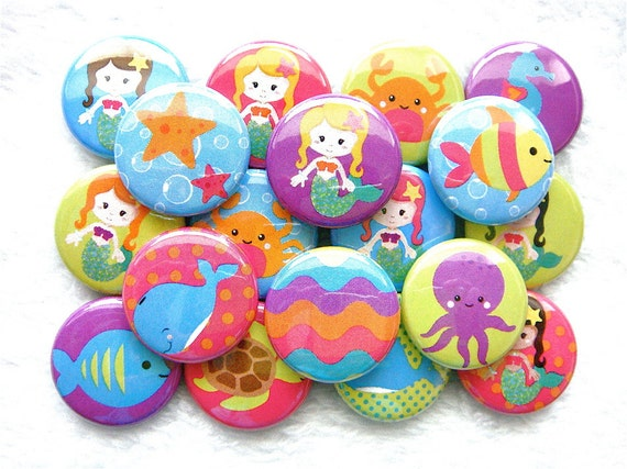 Mermaid Buttons (set of 18), Flat Back Buttons, 1 inch pinback buttons, mermaid party favors
