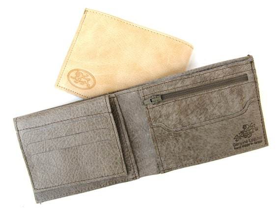 Men's Leather Wallet - in SMOOTH GREY (No. 314)