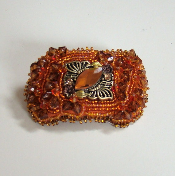 50% off Tangerine Tango Small Bead Embroidered Hair Barrette, orange, tangerine, butterflies, amber, bronze
