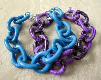 Chunky Chain Bracelets, Set of 2 - Blue and Purple, Colorful Big Bold Chain Links - Supersonic (Ready to Ship)