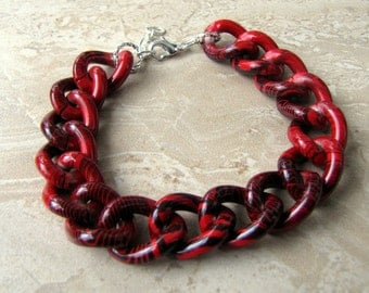 Chunky Chain Bracelet - Colorful Red and Black Curb Chain Bracelet