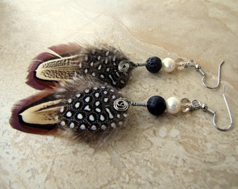 Feather Earrings - Polka Dot Feathers, Pheasant Feathers, Beaded Feather Jewelry - Black Pearl