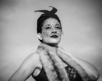 1940s inspired Avant-gaurde 'Bunny Ears' Fur Felt Head Piece High End Fashion Editorial Look-Winter Fashion