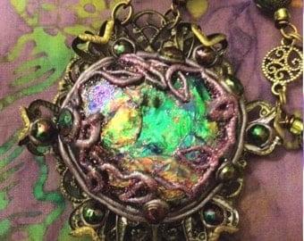 Faerie Worlds Jewelry/ Fangorn Emerald Faerie Portal Necklace/ Tolkien/ Rainbow/Spell Bound Gems(tm)/Custom/Magic/