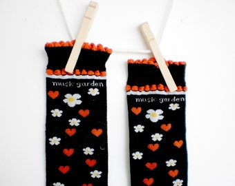 Music Garden Hearts and Flowers Toddler Leg Warmers- Crawlers for Babies