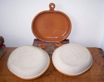 Mid Century, Bennington Potters, Pottery Plates, Set of 3, David Gil Design, Pottery Trays, Dishes with Handle, Rust Natural