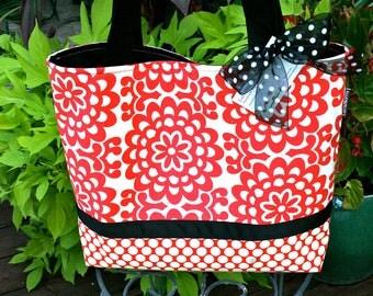 LARGE TOTE - DIAPER Bag - Cherry Wallflower