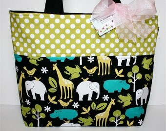 LARGE TOTE - DIAPER Bag - Let's Go to the Zoo