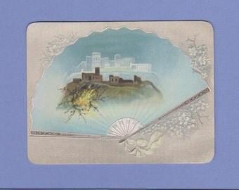 Vintage 1890's Victorian Paper Folding Fan Trade Card