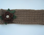 Crochet Headband with custom flower and decorative button-OOAK- Ready to ship for Mother's Day