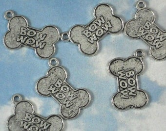 12 Dog Bone Charms 22mm x 14mm Antiqued Silver (P254)