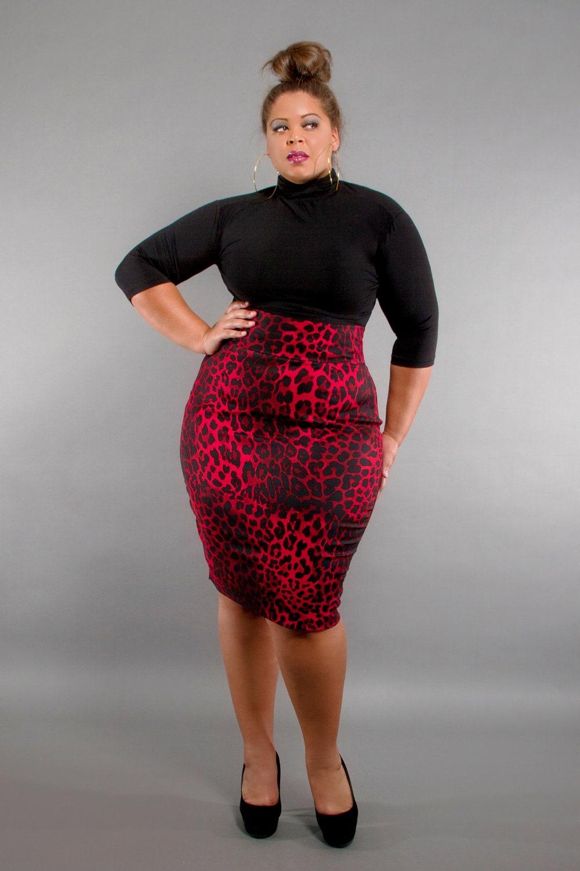 JIBRI Plus Size High Waist Pencil Skirt Red Hot by jibrionline