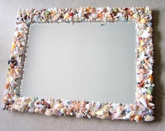 nautical decor seashell mirror beach decor shell mirror shell wall mirror beach house