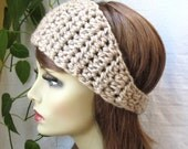 SALE Crochet Headband Ear Warmer, Taupe, Ski Headband, Chunky, Gifts for her, Birthday Gifts, Handmade - HBJE368