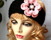 Black Crochet Headband Ear Warmer, Ski Headband, Pink Flower, Gifts for her, Photo Prop, Birthday Gifts, Handmade - HBJE55D