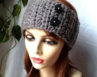 Crochet Headband Ear Warmer, Charcoal Gray, Ski Headband, Chunky, Gifts for her, Birthday Gifts, Handmade HBJE407F7