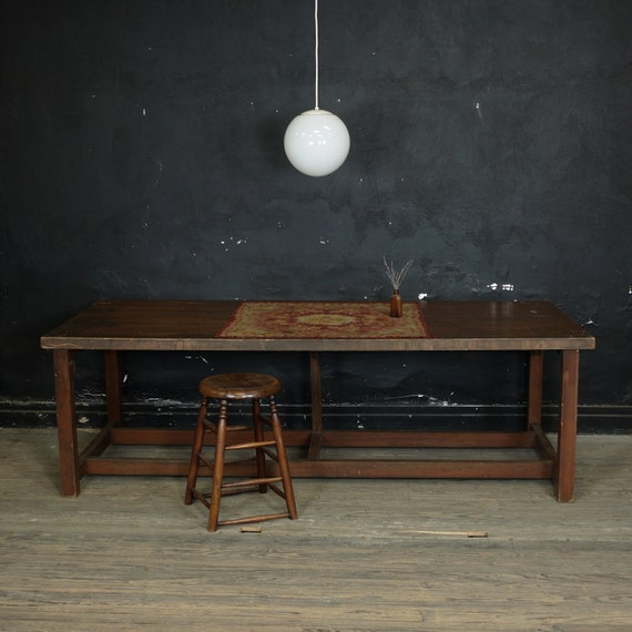 Vintage Refectory Table, Wooden Farmhouse Dining Table