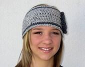 crochet headwarmer earwarmer headband with flower - adjustable size grey