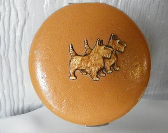 Antique Embossed Leather Scottish Terrier Compact