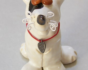 Little Black and White Dog Sculpture Item 1130 - Custom Pieces Available Upon Request