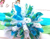Tropical Daisy Blossoms n Confetti Dots Turquoise Lime White Boutique Baby Girl Korker Hair Bow Shimmery Elastic Headband