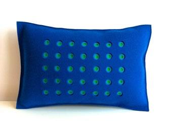 Peacock and Green Felt Pillow, Blue and Green Felt Pillow, Contemporary Pillow