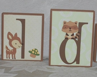 LARGE Baby Name Blocks . Enchanted Forest . Holden