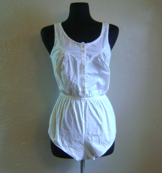 White cotton romper teddy snap-up playsuit camisole blouse