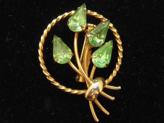 Vintage Green Rhinestone Floral Pin Brooch