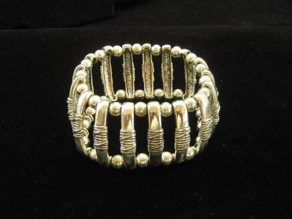 Vintage Chunky Silver Stretch Bracelet 1960s