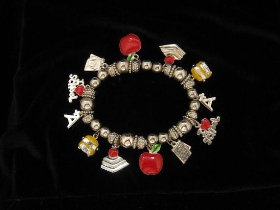 Vintage Enamel School Charm Bracelet Dangling