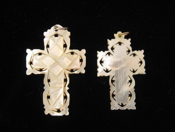 2 Vintage Mother of Pearl Religious Cross Pendants 1950s