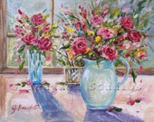 Autumn Blossoms Floral Still Life Print of Original Oil Painting