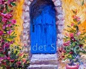 Art Print Country French wall decor Impressionist Blue door Italy Architecture Print