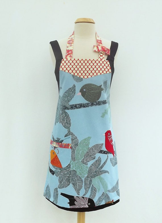 Apron- Rainbow of Birds Chef Style Womens Full Apron made with IKEA Fabric