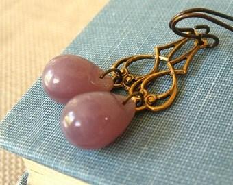 Lavender Water - Purple glass brass earrings - Elysia