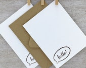 Speech Bubble Letterpress Notecard Set  - Hello Stationery Set - Fathers Day - Dark Brown - 10 pack (NHL1)