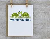 Retro Turtle Couple - Sending You Warm Fuzzies, Valentines Day - Single Letterpress Greeting (ED02)