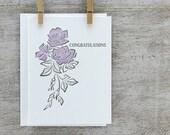 Rose Congratulations Letterpress Greeting Card - Rose Wedding Card - Plum Violet Lavender Lilac Purple (CN01)