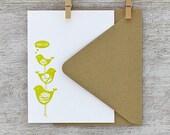 Bird Stack Letterpress Flat Note Card Set -  Bamboo Mustard Yellow, Geometric Pattern, Spring, Summer, Hello - 10 pack (NBS01)