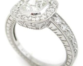 1.45ctw CUSHION cut antique style bezel set diamond ring with filigree & milgrain accents C27