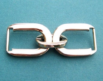 Double D-Rings with Link - 5/8 Inch Fancy  Nickel Set of 4
